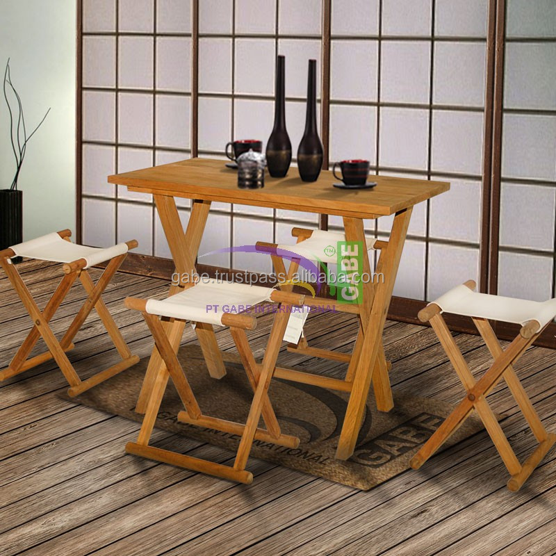 Dining Table Japanese Style Model Shinto , Solid Teak wood natural Color With canvas Seater