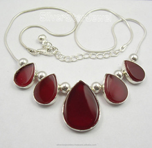 "Buy Gemstone Designer Jewelry Resellers .925 Sterling Silver RED FIRE CARNELIAN ART Necklaces 18.5"" WOMEN'S JEWELRY"