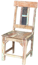 carved block printed vintage wooden dinning chair