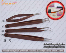 New Style eyelash extension Tweezers /Tweezers Brown Colors /Brown Color Of Spring Scissors From STYLISH BEAUTY INDUSTRY Canada
