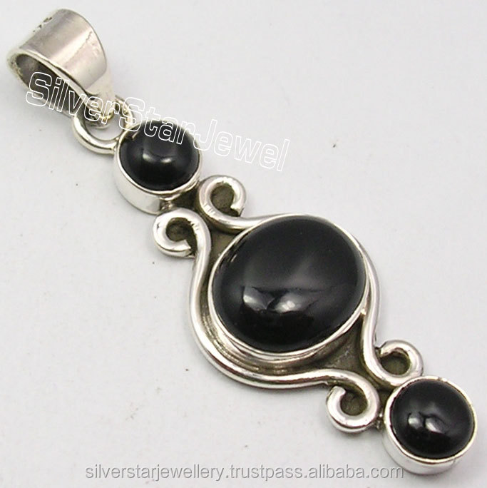 "Latest Design Tribal Style Girls Jewelery Supplier 925 PURE Silver Classic BLACK ONYX 3 STONE OXIDIZED Pendant 1.7"" HANDMADE NEW"