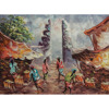 Wholesale Wall Art Home Decoration Handmade Original Bali Traditional Market Oil Painting