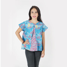 Good Quality Design Casual Modern Woman Top Batik Soft Printed Short Sleves 100 % cotton