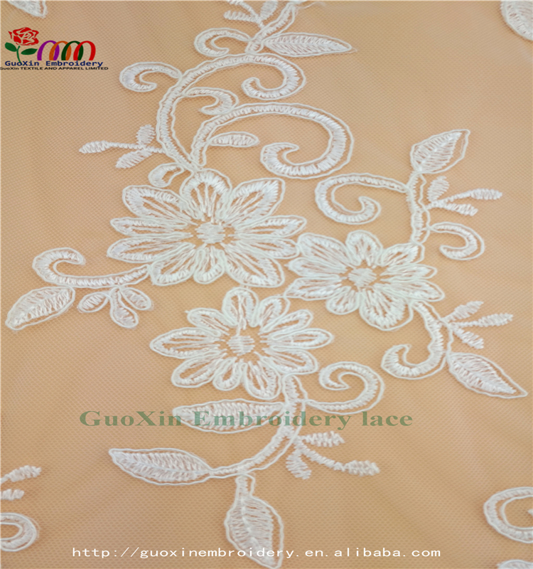 best price white lace textile with cordings embroidery lace fabric for wedding dress