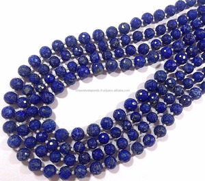 Afghan Lapis lazuli round Faceted gemstone bead strands wholesale semi precious stone