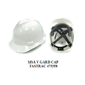 MSA V GARD CAP FASTRAC 475358 / White Safety Helmet / Made In Malaysia