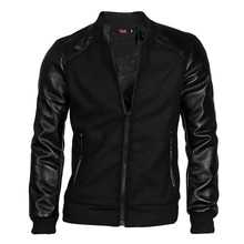 Custom wholesale polyester varsity bomber baseball jacket Leather Panel Long Sleeve Rib Knit Trim Baseball Jacket