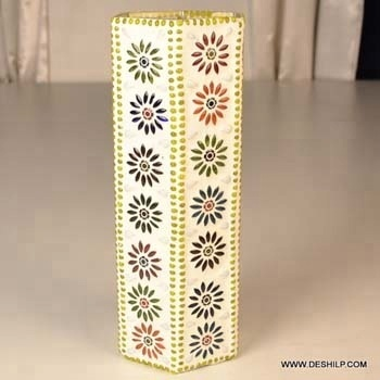 GLASS LONG SQUARE MOSAIC FLOWER VASE ,FLOWER MOSAIC DESIGN