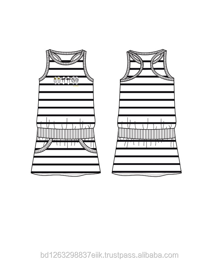 Hot !!! Casual girls made in bangladesh 160g knit stripped sleeveless dress