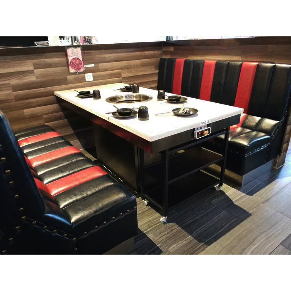 Commercial furniture modern marble top restaurant hot pot tables chairs
