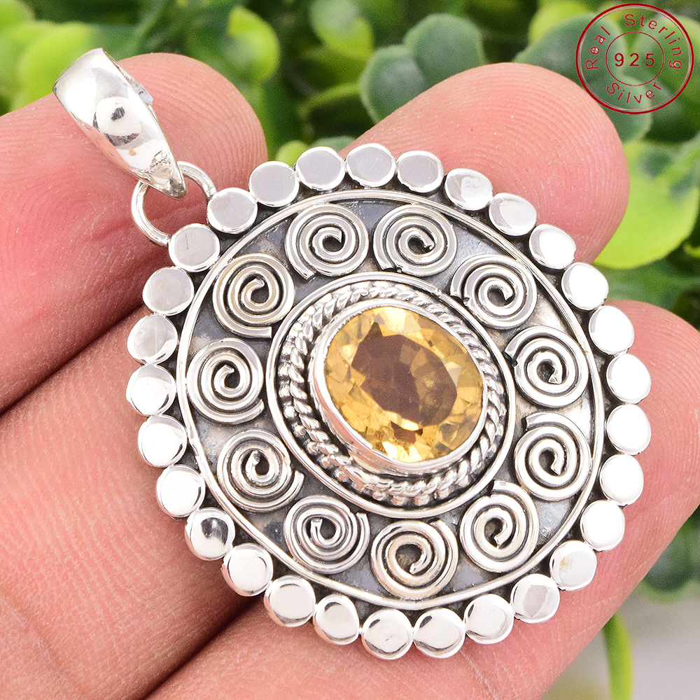 Wholesale design natural yellow citrine pendant offers 925 sterling silver jewelry handmade gemstone pendant