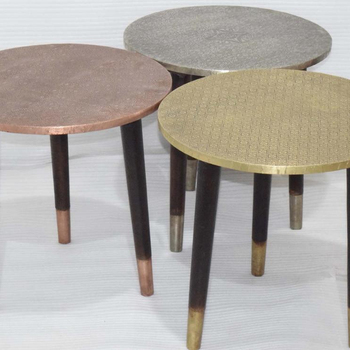 Metal Fitted  Round Top Indian Coffee Table