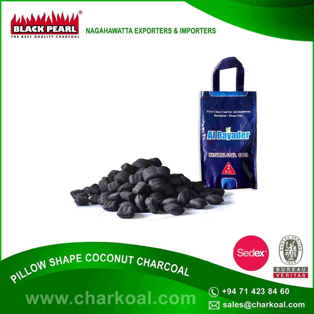 No-smell Pillow Shape Coconut BBQ Machine Made Charcoal