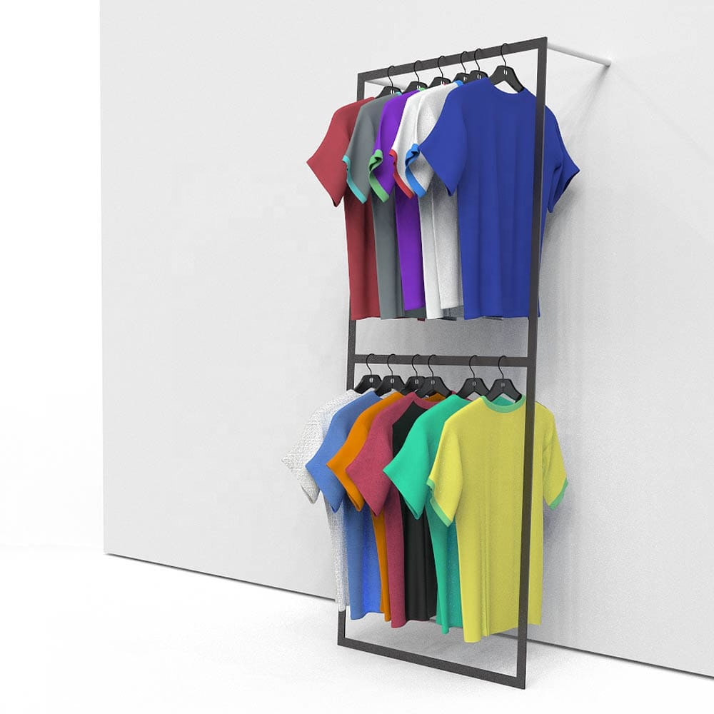 Wall mounted clothing retail display racks <strong>14</strong>