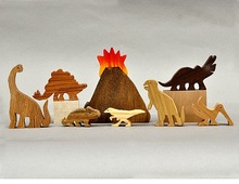 Dinosaur Animal Play Set Wooden Block Toys for Children Kids Toddlers Girls Boys T Rex Brontosaurus Tricera Birthday Gift