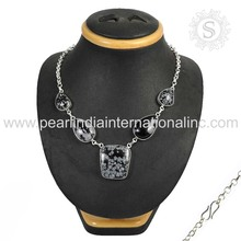 Beautiful snow flak obsidian gemstone necklace 925 sterling silver jewelry exporters wholesale jewellery from india