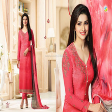 Pink Color Royal Crepe Embroidery Unstitched Dress Material