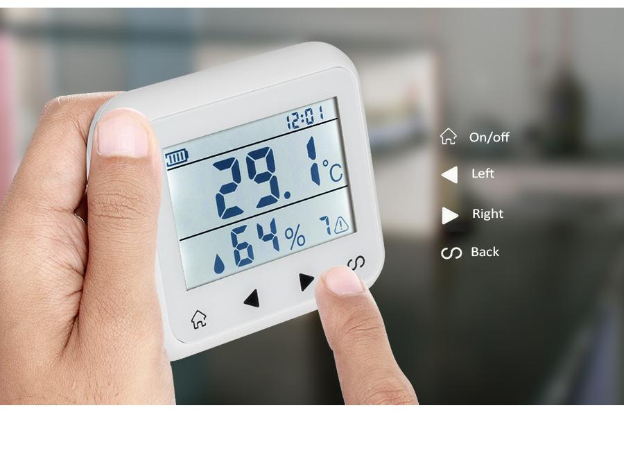 KERUI TD32 LED Display Adjustable Temperature Thermometer Humidity Alarm Sensor