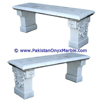 Natural marble stone BENCHES TABLE NATURAL STONE HAND CARVED GARDEN FURNITURE OUTDOOR ZIARAT WHITE