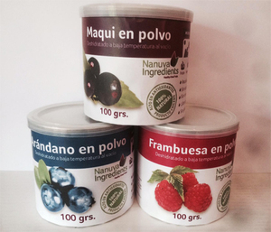 Chilean Super Foods Powder Packaged for Retail: Maquiberry, Rosehip, Blueberry and Raspberry