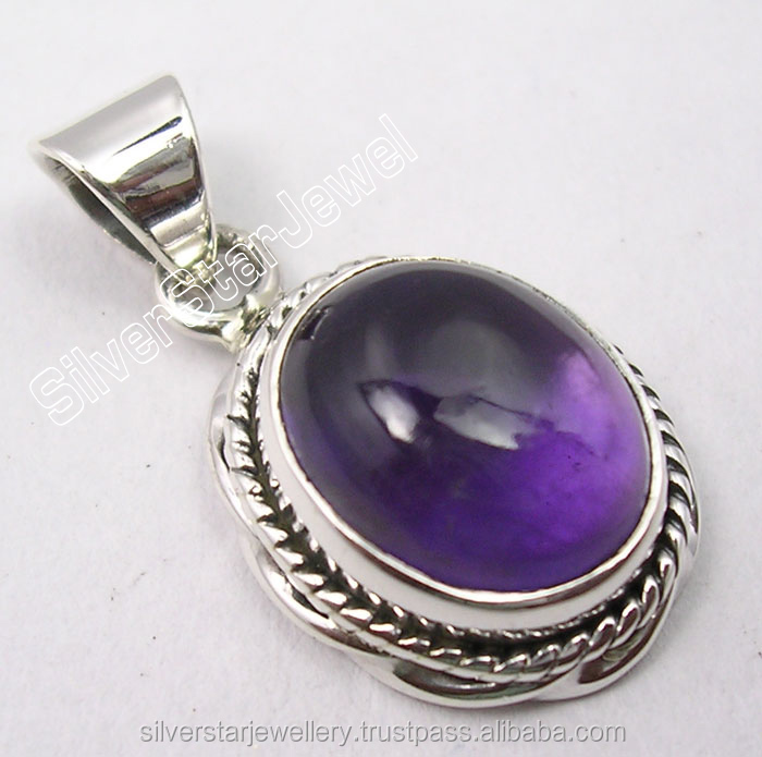 Real Gemstones Cheap Price Jewelery Exports 925 Solid Silver Sparkling PURPLE AMETHYST RETRO STYLE Pendant 2.4 CM 3.4 Grams