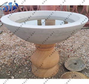 custom white small sandstone bird bath