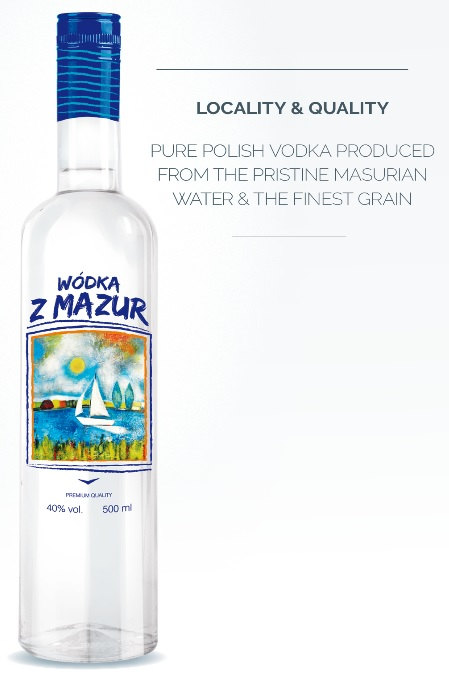 VODKA Z MAZUR - 0,5L, 40% high quality Polish wheat spirit, Polish distillery