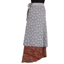 Vintage Silk Sari Magic Two Layer Long Reversible Silk Wrap Skirt