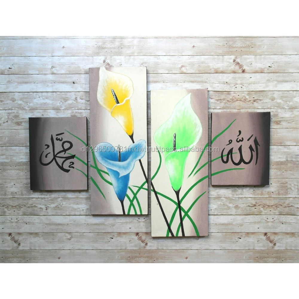 Wholesale Hot Selling Modern Tulip Flower Islamic Calligraphy Oil Painting Grey Background Canvas For Decoration Wall Art