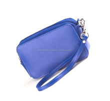 New Women Blue Leather Cosmetic Bag / Women Travel Cosmetic Wash Bag/ Ladies Womens Large Makeup Cosmetics Case