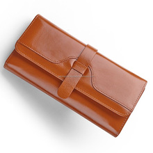 Genuine Leather Women wallet Coin Purse Phone Clutch Long Organizer design Lady Card Holder Money Bag Brown