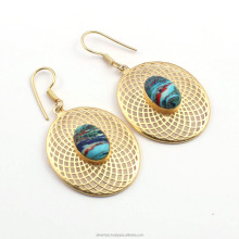 Fashion Antique Brass Light Weight Rainbow Calcica Designer Metal Earrings Jewelry
