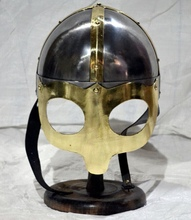 Viking Barbarian Warrior Helmet - Medieval Costume Armor Copper Antique