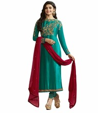Semi Stitched Dress Material 2017 / Embroidery Salwar Kameez For Party Wear / Latest Casual Wear Collection (salwar kameez Suit)