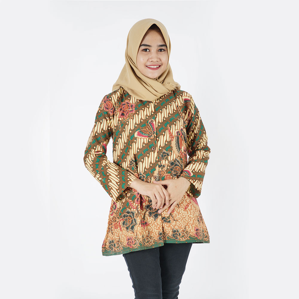 Cute Design Formal Woman Top Batik Long Sleves 100 % Made In Indonesia