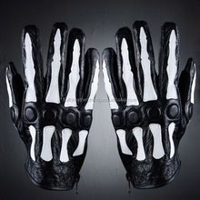 Men's Gothic Fashion Black Leather Skeleton Patch Gloves--FG-103