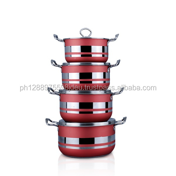 Hot sell brand 12pcs blue/red/green decal style cookware set