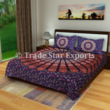Indian cotton bed sheet with pillow covers printed tapestries throw mandala tapestry bedding set