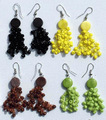 Tagua Bead Earrings with Color Pearls Round Cheap Tribal Handmade Fashion Jewelry