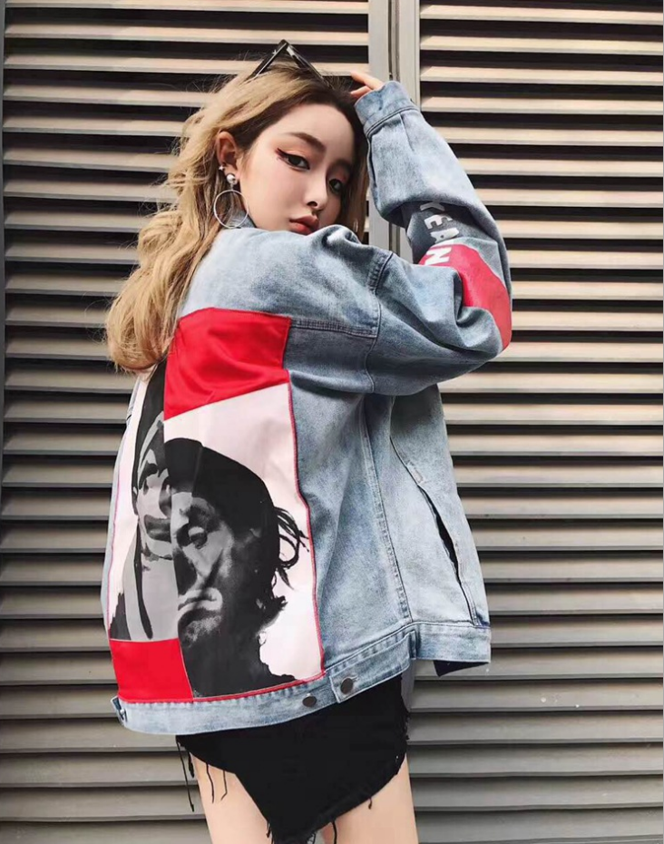 New Clown Jeans Jacket Men Women <strong>Holes</strong> Red Armbands Stitching Portraits Jacket Casual Streetwear Vintage Chaquetas