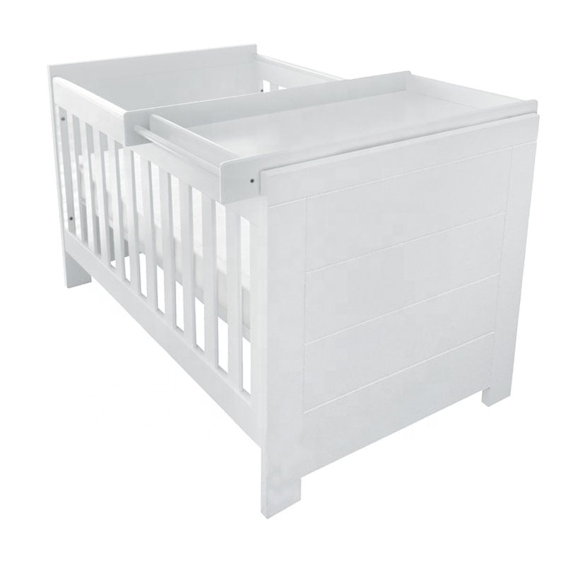 No.1217 Factory Hot Selling Wooden White Baby Nursery Cot Furniture