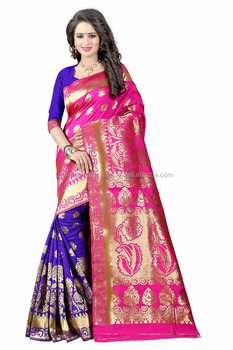 Women's Embellished Woven Art Silk Pink & Blue Designer Saree for Women, Suit in Every Occasion