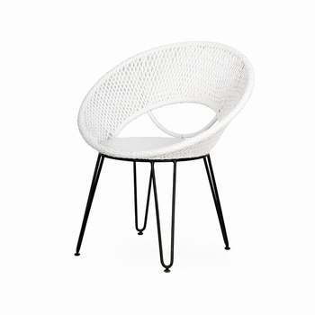 Gladys Dining Chair White Weaving Synthetic Rattan and Powdercoated Iron