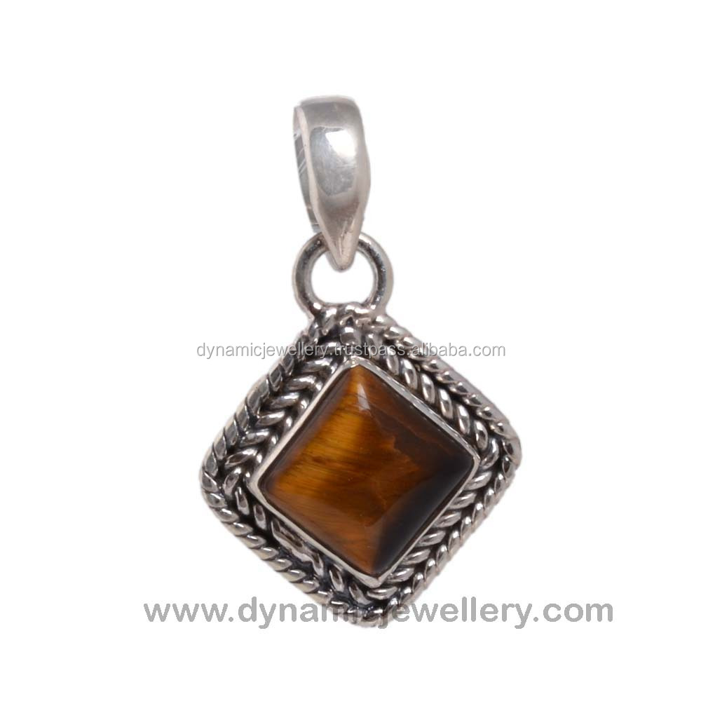 Beautiful design handmade silver yellow tiger eye pendant