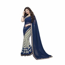 Amazing Look Navy Blue Georgette Fashion Party Wear Women's Designer Saree