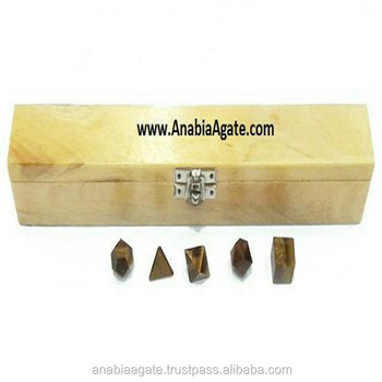 Tiger Eye 5pcs Geometry Set With Wooden Box : Platonic Crystals