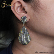 925 Sterling Silver Jewelry Wholesale Pave Diamond Drop Earrings