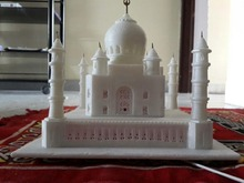 Indian Beautiful Handmade White Marble Light Fitted Carved Taj Mahal Sculpture