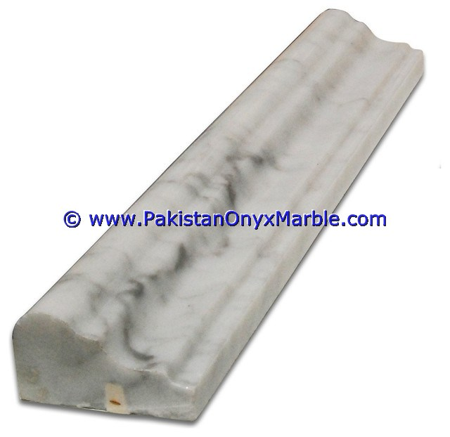 NATURAL COLOR MARBLE MOLDING CHAIR RAIL DECORATIVE BULL NOSE TRIM EDGE BORDER ZIARAT CARRARA WHITE