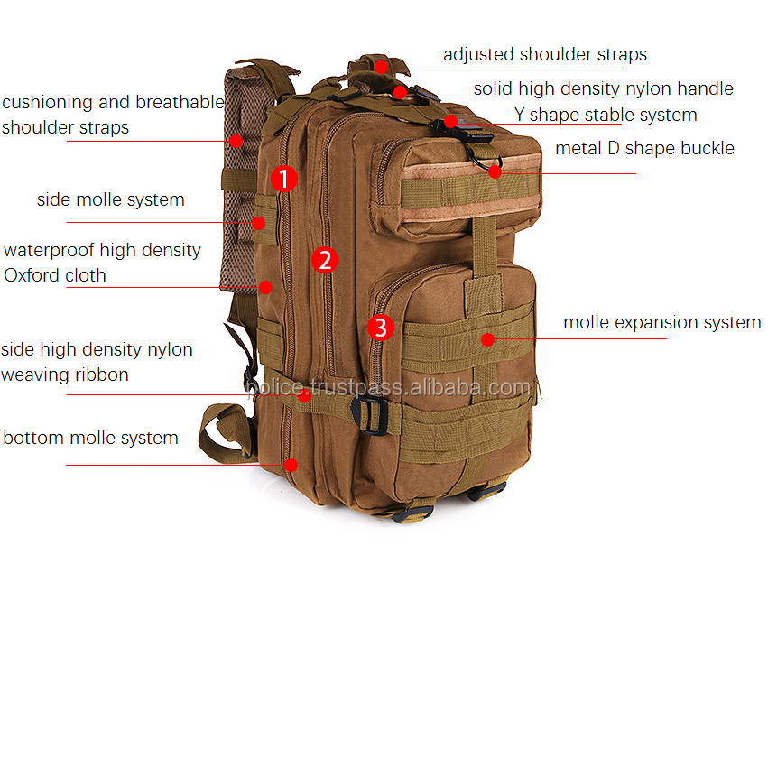 25L 3P new type of outdoor mountaineering bag for army fans or army people